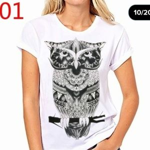 NWOT Black and White Owl Graphic Tee
